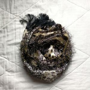 Animal Print Eyelash Scarf Black fringe